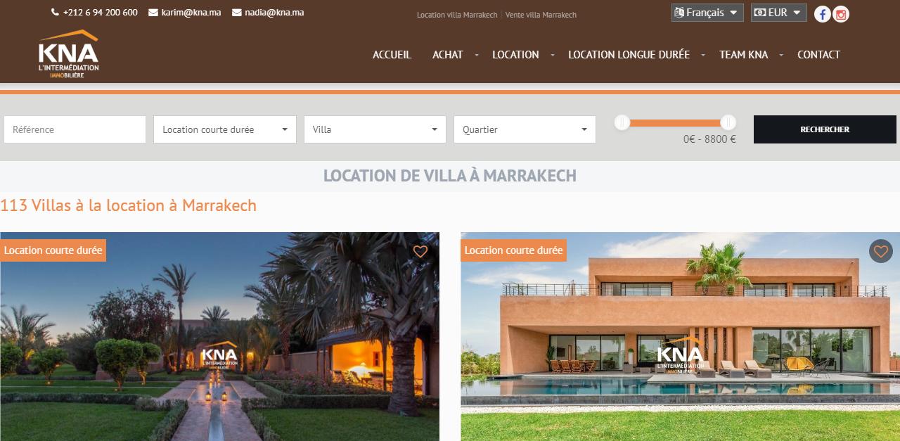 Location villa palmeraie marrakech